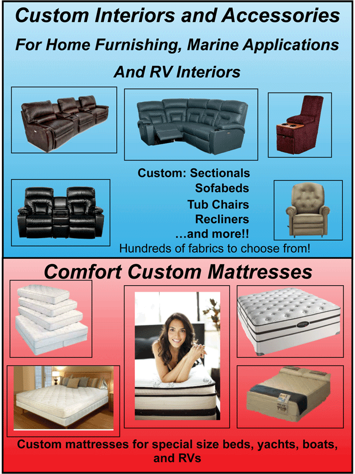 Custom Interiors and Accessories for Home FUrnishing, Marine Appliacionts, and RV Interiors